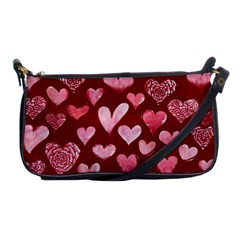 Watercolor Valentine s Day Hearts Shoulder Clutch Bags