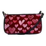 Watercolor Valentine s Day Hearts Shoulder Clutch Bags Front