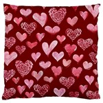 Watercolor Valentine s Day Hearts Large Cushion Case (Two Sides) Front