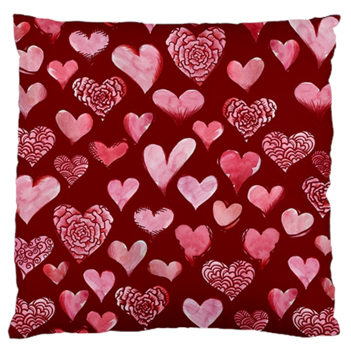 Watercolor Valentine s Day Hearts Large Cushion Case (Two Sides)