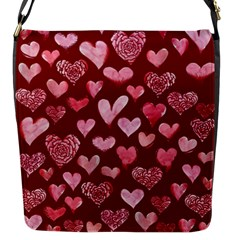 Watercolor Valentine s Day Hearts Flap Messenger Bag (s)