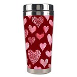 Watercolor Valentine s Day Hearts Stainless Steel Travel Tumblers Left