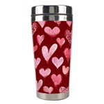 Watercolor Valentine s Day Hearts Stainless Steel Travel Tumblers Center