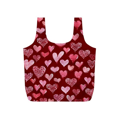 Watercolor Valentine s Day Hearts Full Print Recycle Bags (S)