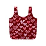Watercolor Valentine s Day Hearts Full Print Recycle Bags (S)  Front