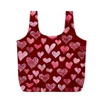 Watercolor Valentine s Day Hearts Full Print Recycle Bags (M)  Front