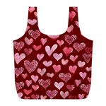 Watercolor Valentine s Day Hearts Full Print Recycle Bags (L)  Front