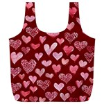 Watercolor Valentine s Day Hearts Full Print Recycle Bags (L)  Back