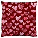 Watercolor Valentine s Day Hearts Large Flano Cushion Case (One Side) Front