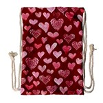 Watercolor Valentine s Day Hearts Drawstring Bag (Large) Front