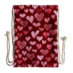 Watercolor Valentine s Day Hearts Drawstring Bag (Large) Back