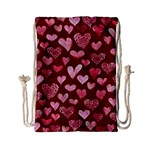 Watercolor Valentine s Day Hearts Drawstring Bag (Small) Front