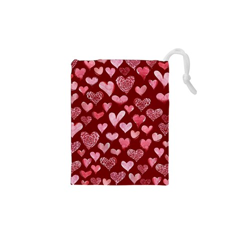 Watercolor Valentine s Day Hearts Drawstring Pouches (XS)
