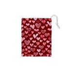Watercolor Valentine s Day Hearts Drawstring Pouches (XS)  Front