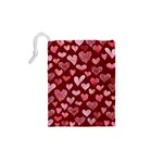 Watercolor Valentine s Day Hearts Drawstring Pouches (XS)  Back