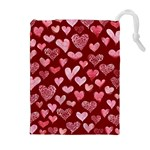 Watercolor Valentine s Day Hearts Drawstring Pouches (Extra Large) Front
