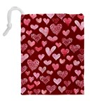 Watercolor Valentine s Day Hearts Drawstring Pouches (Extra Large) Back