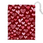 Watercolor Valentine s Day Hearts Drawstring Pouches (XXL) Front