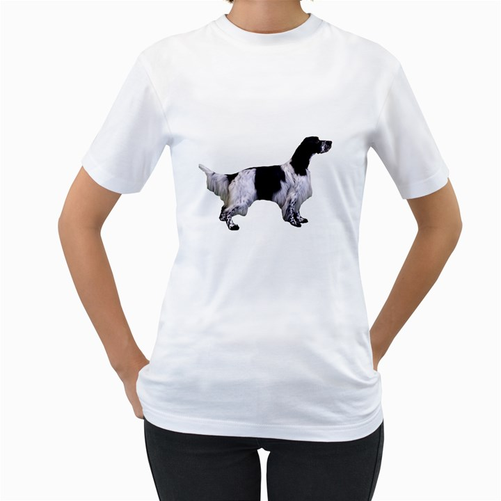 English Setter Full Women s T-Shirt (White) (Two Sided)