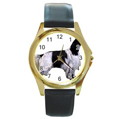 English Setter Full Round Gold Metal Watch