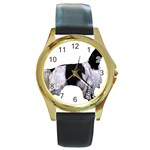 English Setter Full Round Gold Metal Watch Front