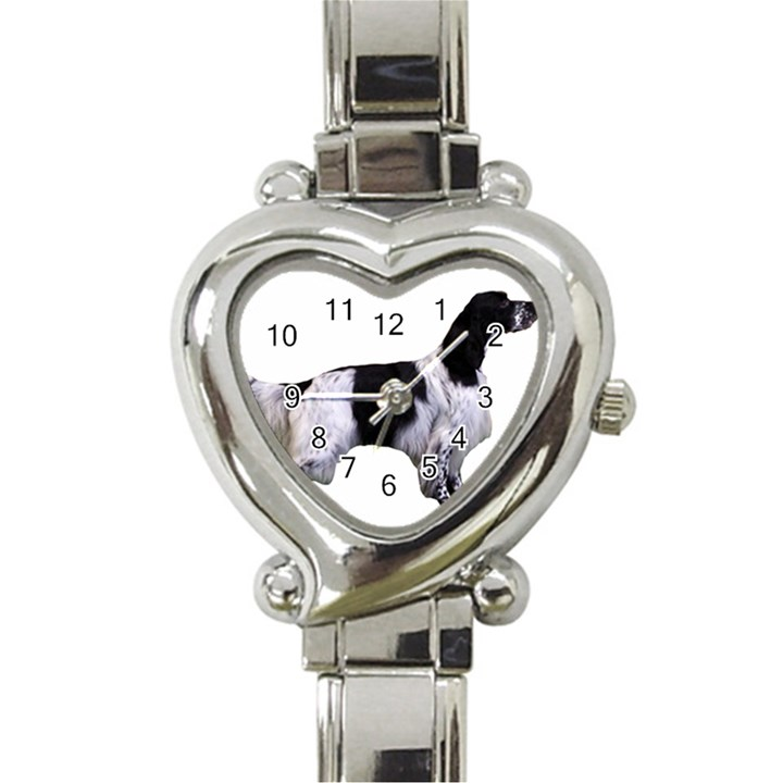 English Setter Full Heart Italian Charm Watch