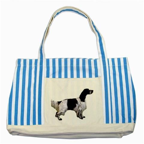 English Setter Full Striped Blue Tote Bag