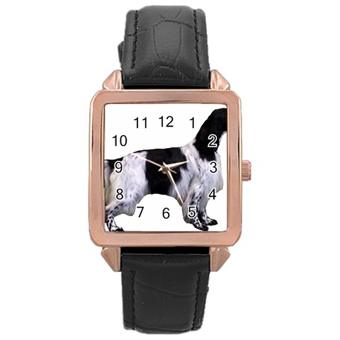 English Setter Full Rose Gold Leather Watch