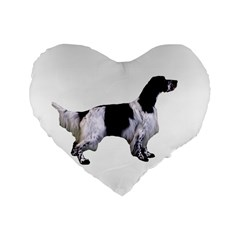 English Setter Full Standard 16  Premium Flano Heart Shape Cushions