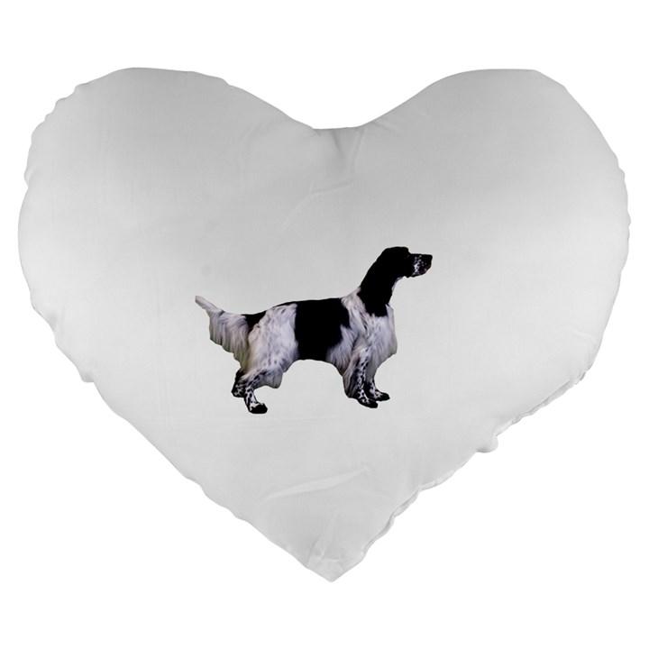 English Setter Full Large 19  Premium Flano Heart Shape Cushions