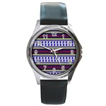 Colorful Retro Geometric Pattern Round Metal Watch Front