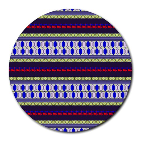 Colorful Retro Geometric Pattern Round Mousepads