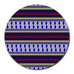 Colorful Retro Geometric Pattern Round Mousepads