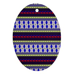 Colorful Retro Geometric Pattern Ornament (oval)