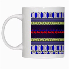 Colorful Retro Geometric Pattern White Mugs