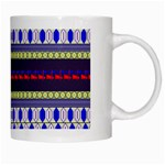 Colorful Retro Geometric Pattern White Mugs Right