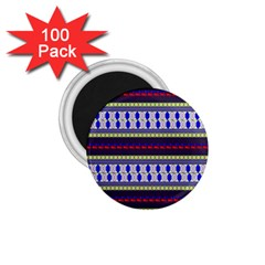 Colorful Retro Geometric Pattern 1.75  Magnets (100 pack)