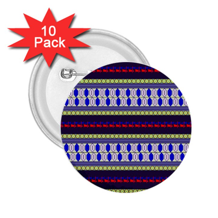 Colorful Retro Geometric Pattern 2.25  Buttons (10 pack)