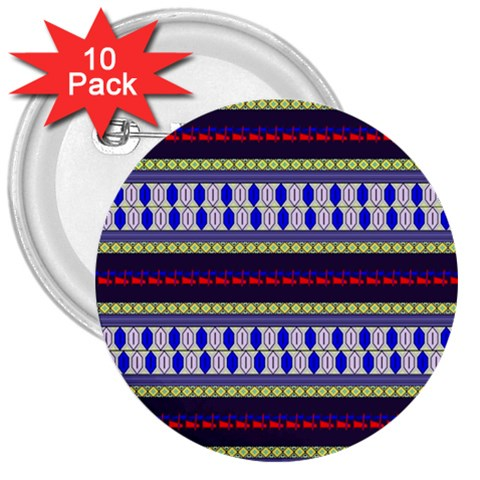 Colorful Retro Geometric Pattern 3  Buttons (10 pack)