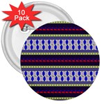 Colorful Retro Geometric Pattern 3  Buttons (10 pack)  Front