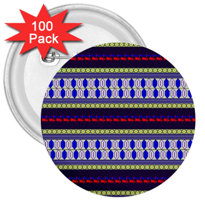 Colorful Retro Geometric Pattern 3  Buttons (100 pack)