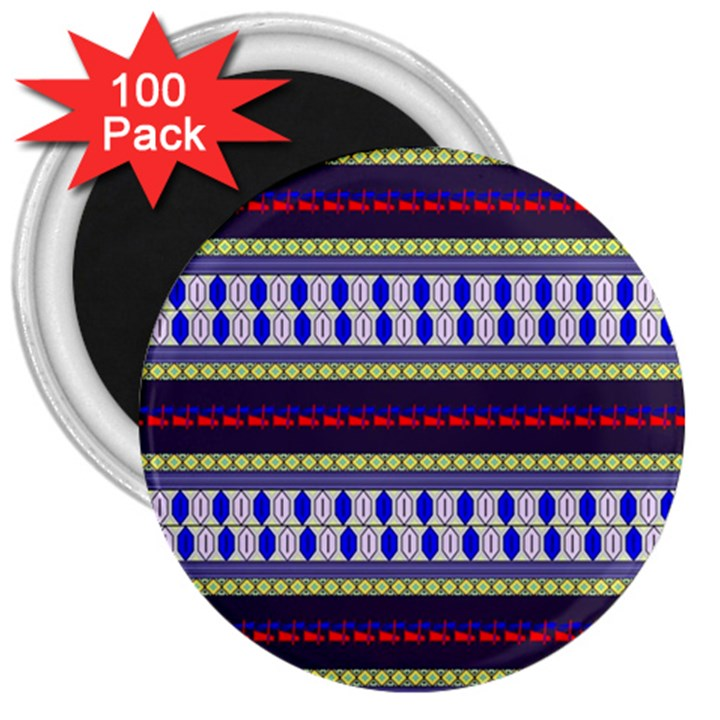 Colorful Retro Geometric Pattern 3  Magnets (100 pack)