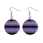 Colorful Retro Geometric Pattern Mini Button Earrings Front