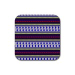 Colorful Retro Geometric Pattern Rubber Coaster (Square)  Front