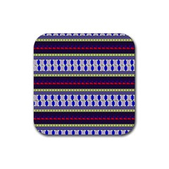 Colorful Retro Geometric Pattern Rubber Square Coaster (4 pack)