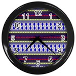 Colorful Retro Geometric Pattern Wall Clocks (Black) Front