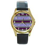Colorful Retro Geometric Pattern Round Gold Metal Watch Front