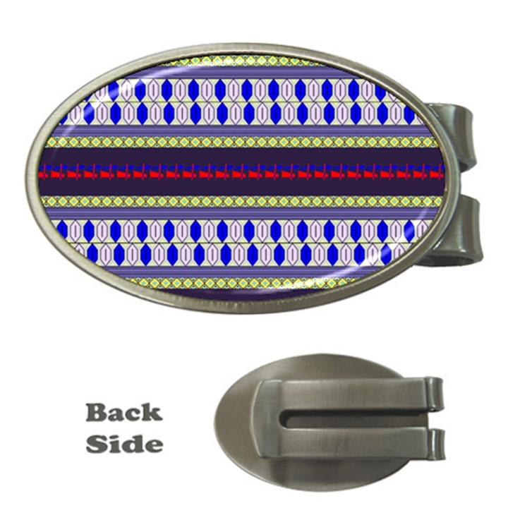 Colorful Retro Geometric Pattern Money Clips (Oval)