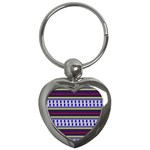 Colorful Retro Geometric Pattern Key Chains (Heart)  Front