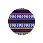 Colorful Retro Geometric Pattern Rubber Round Coaster (4 pack)  Front